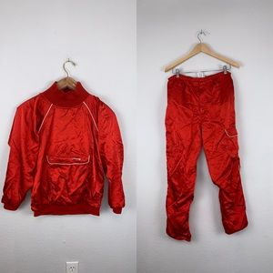 ADIDAS Womens Vintage Trackpant Suit Top Satin Red